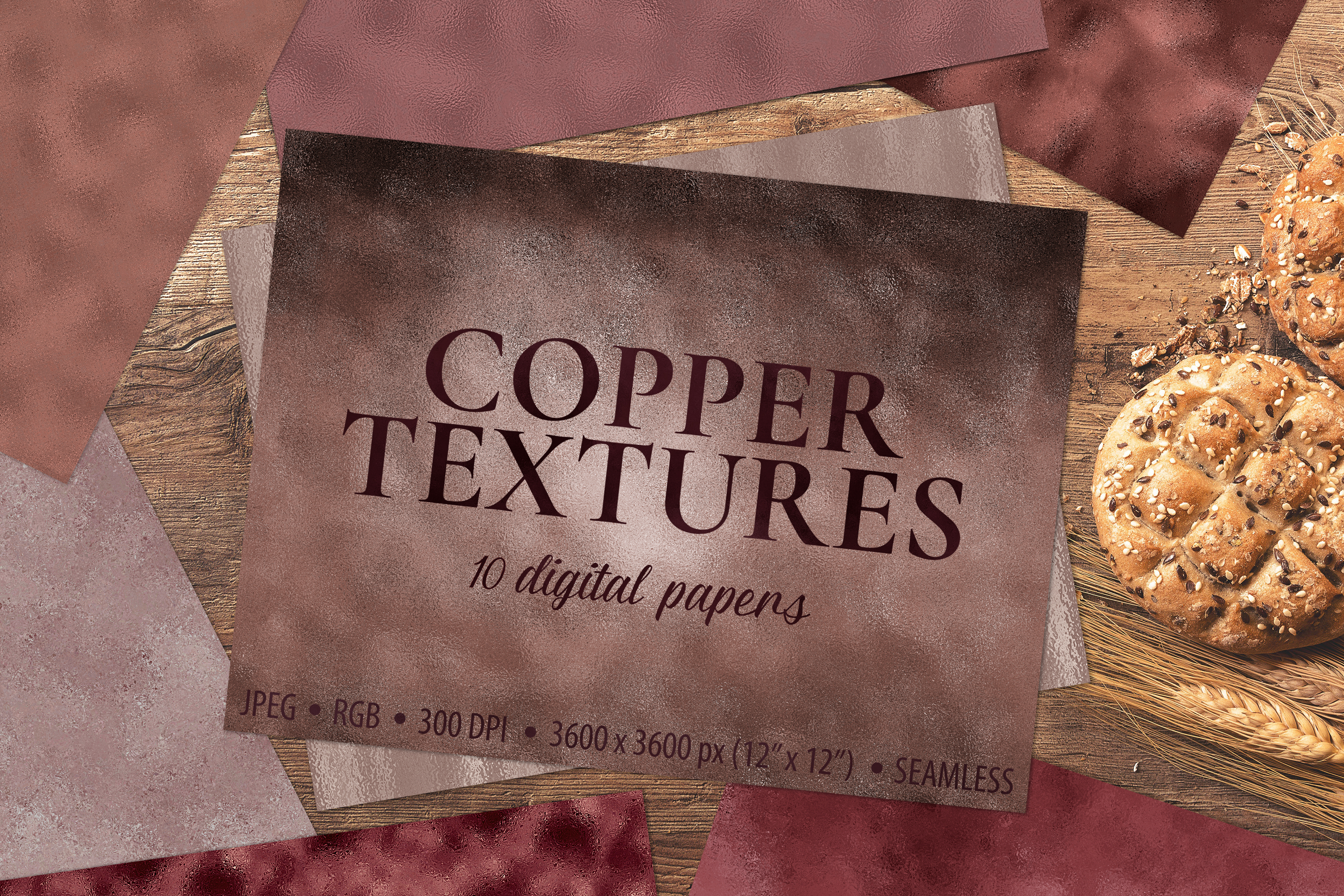 Copper Foil Textures - 10 Seamless Digital Papers example image 1