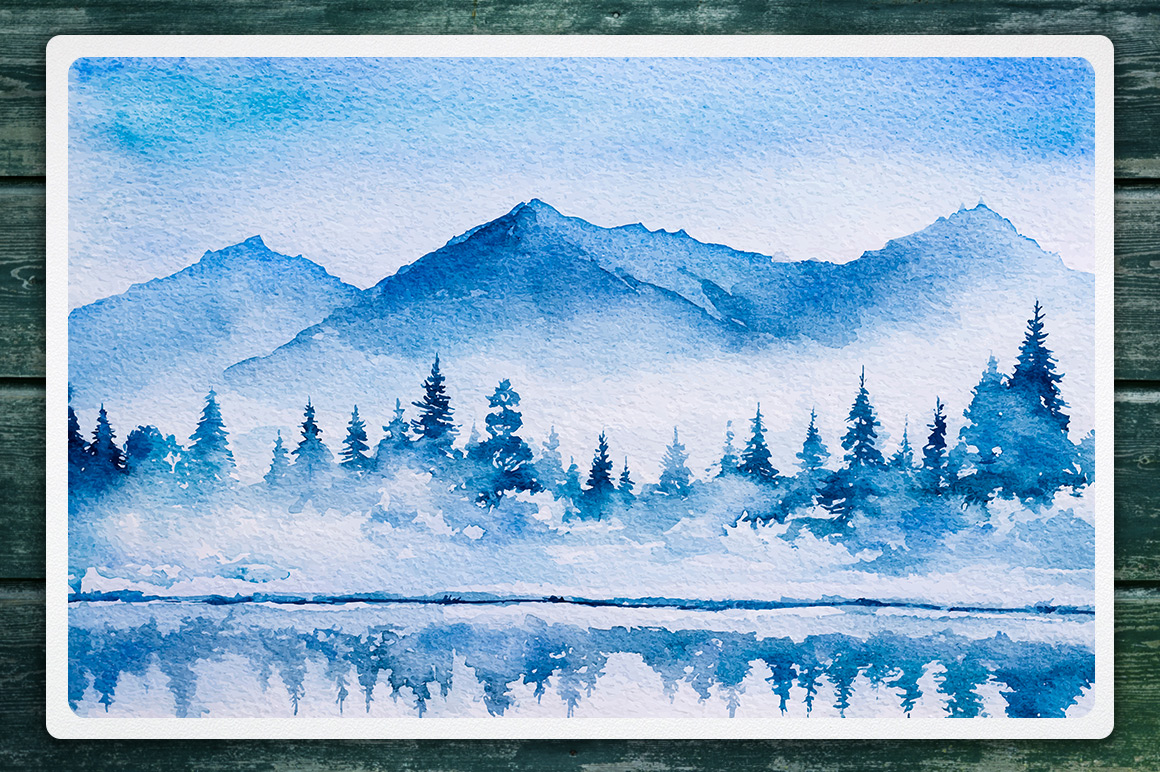 Winter Landscapes set#2. Watercolor. example image 3