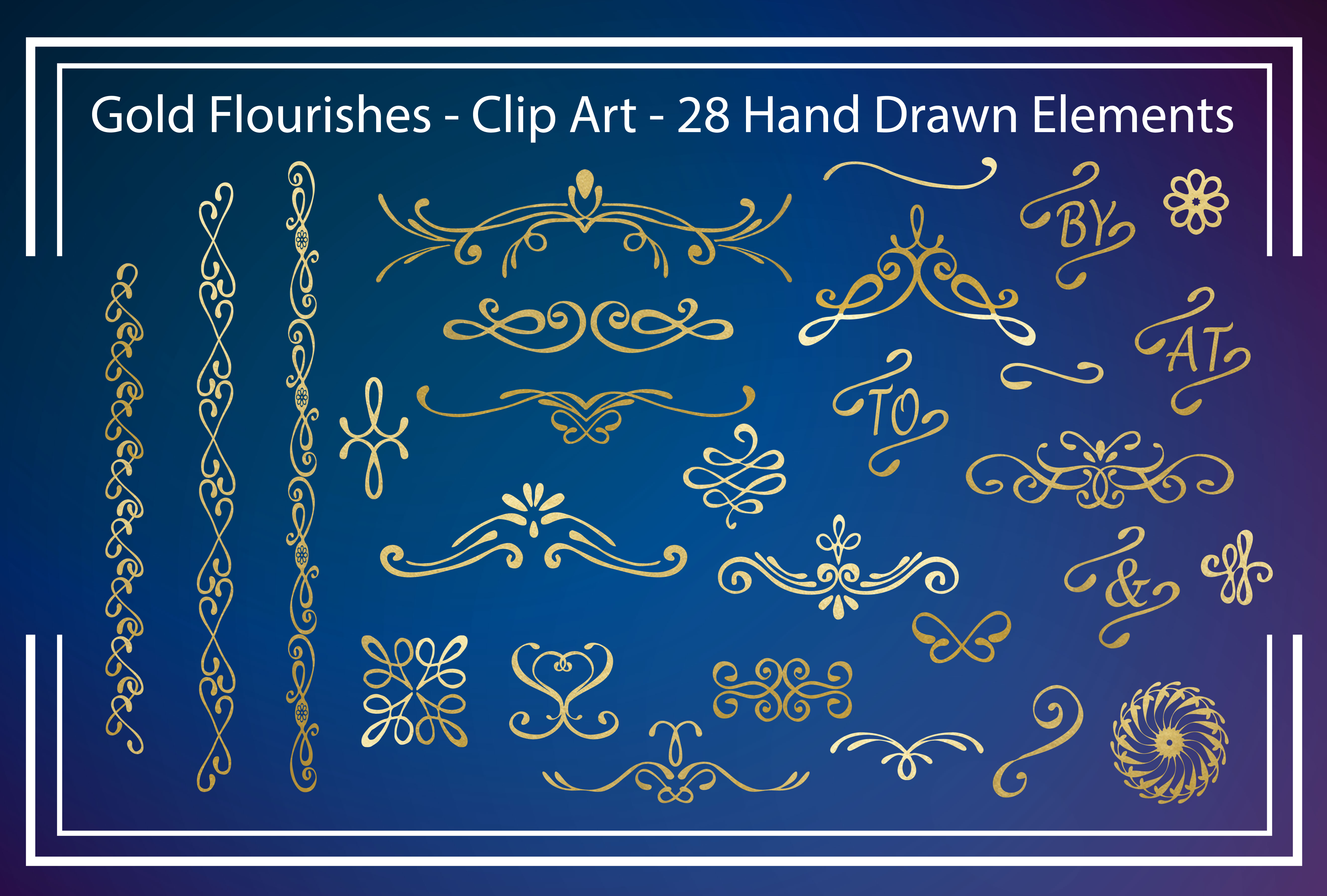 Gold Flourishes - Clipart example image 1