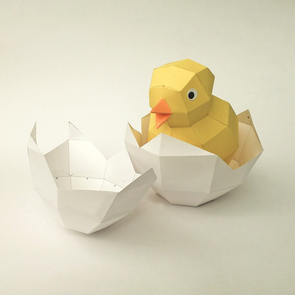 DIY Chick in egg - 3d papercraft example image 3