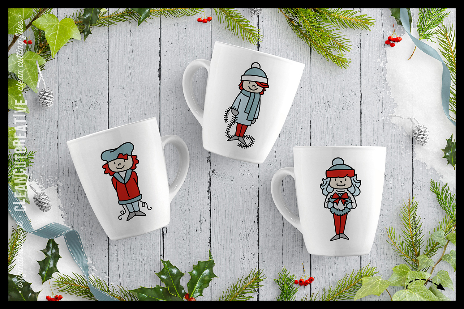Cute Christmas Clan - Family Characters svg cutfiles vector example image 4