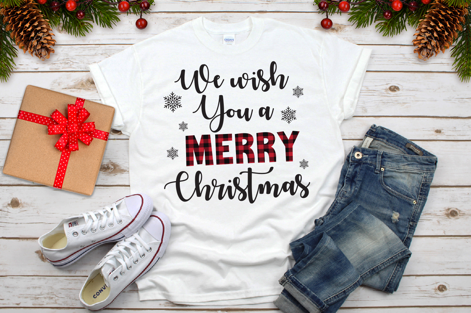 We Wish You A Merry Christmas Plaid Svg example image 3