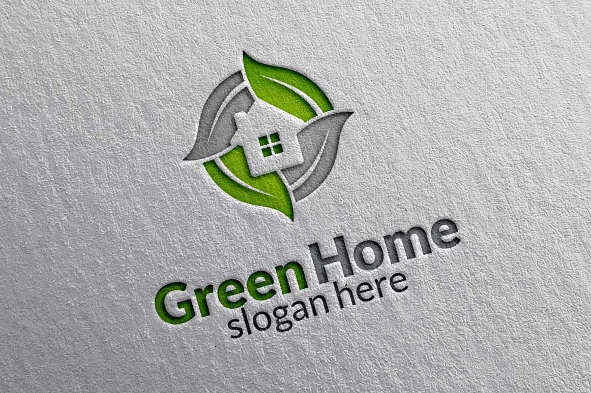 Real estate Logo, Green Home Logo 3 example image 3