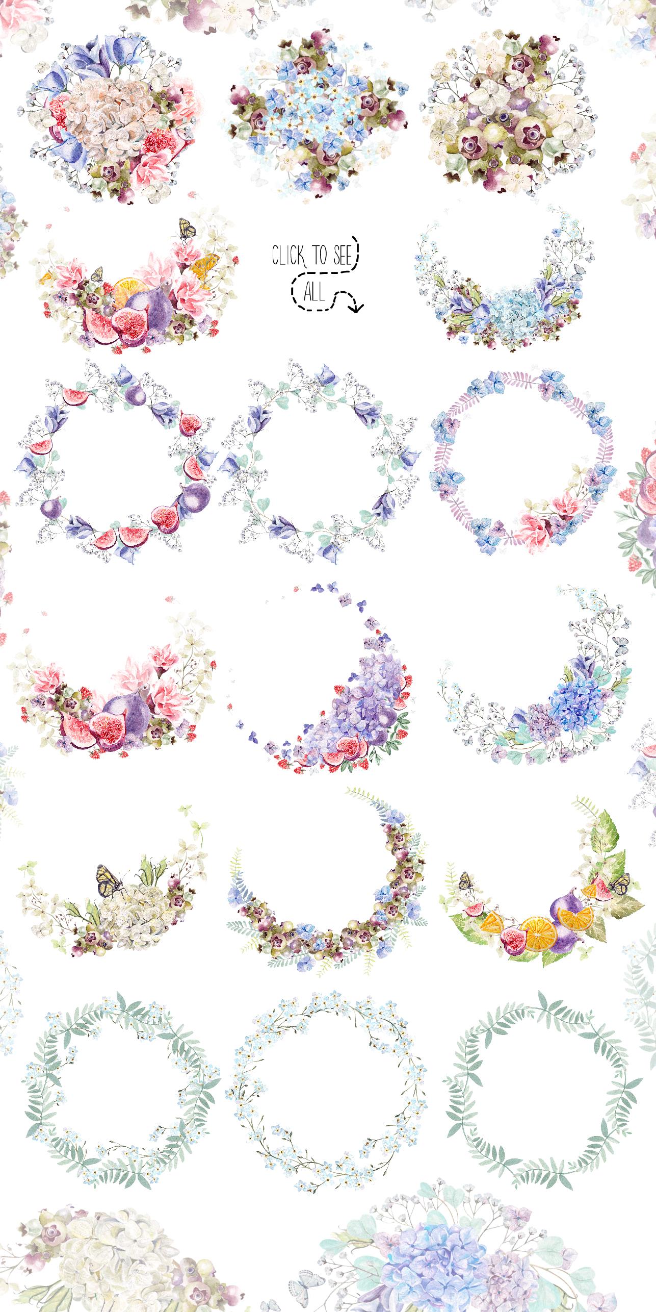 HandDrawn WATERCOLOR Wedding Flowers example image 3