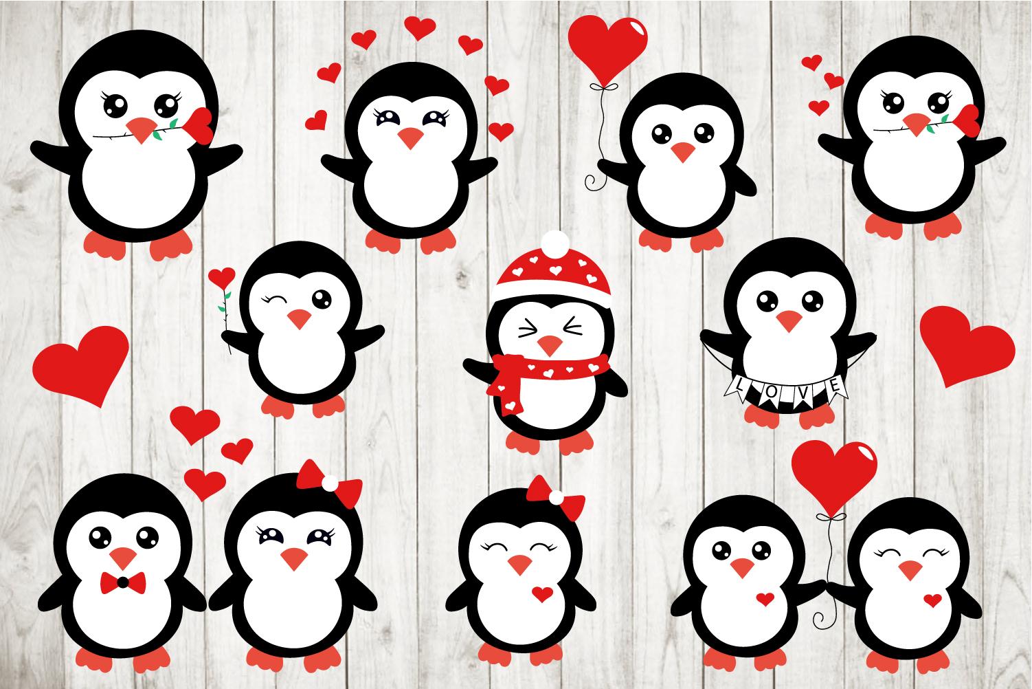 Valentine's Penguins Bundle Svg example image 2
