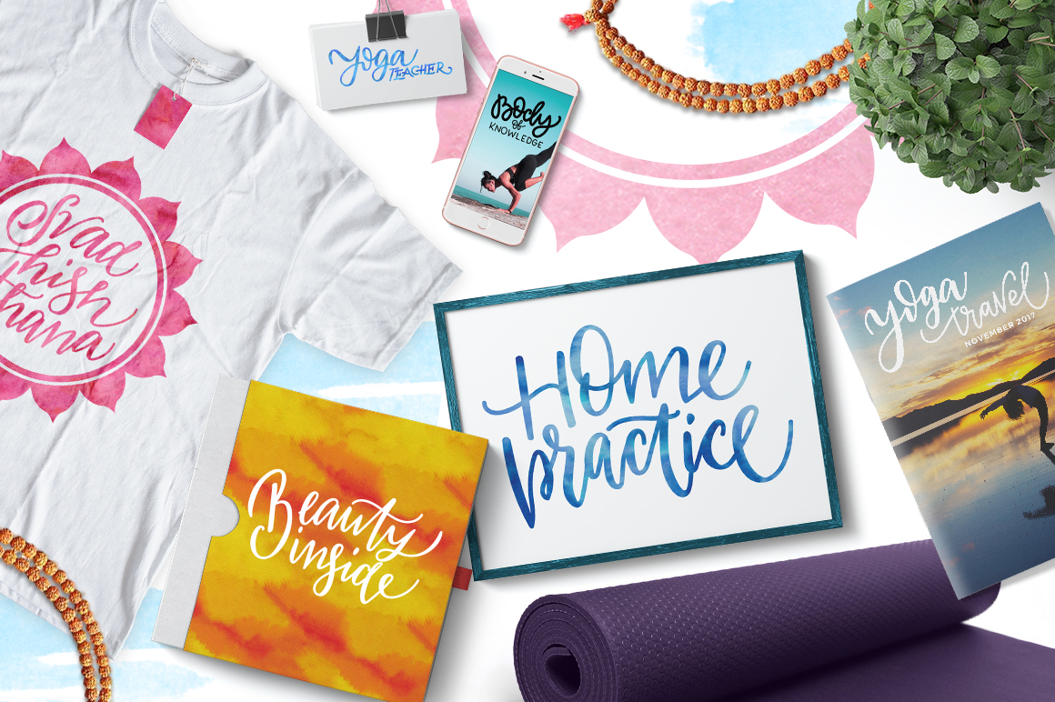Yoga studio lettering & graphic set example image 2
