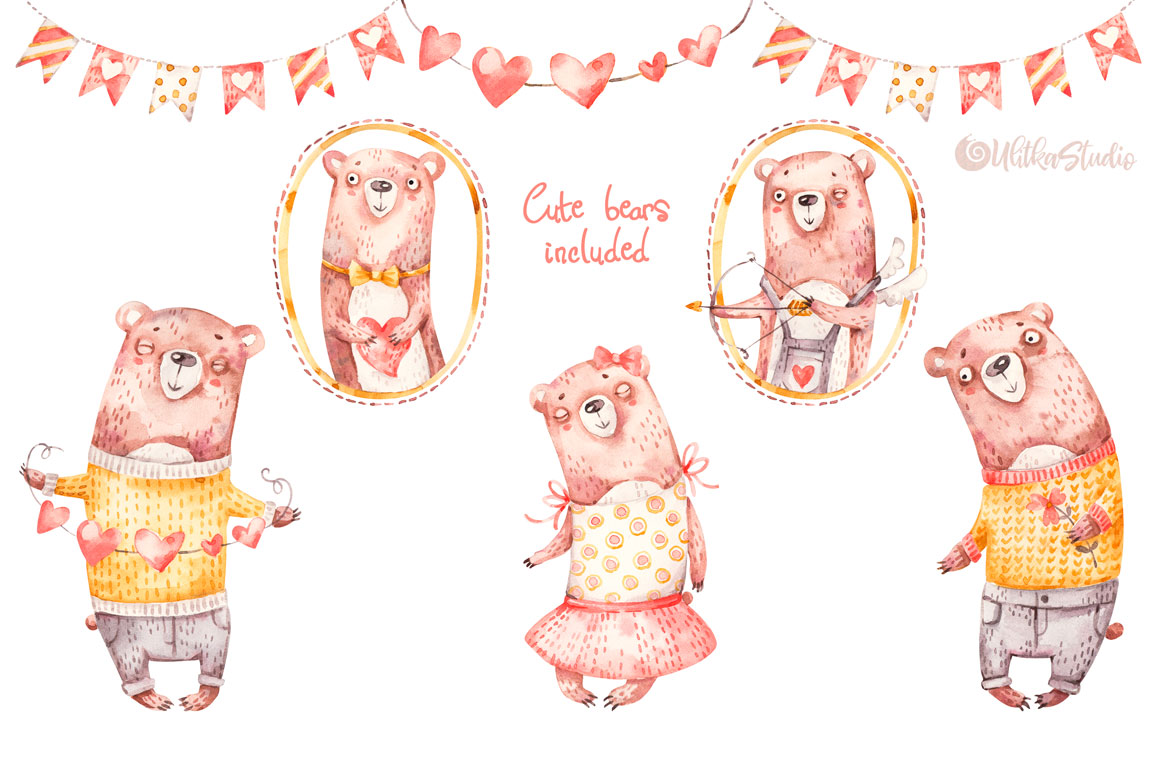 Cozy Valentines Day. Lovely bears watercolor collection example image 8
