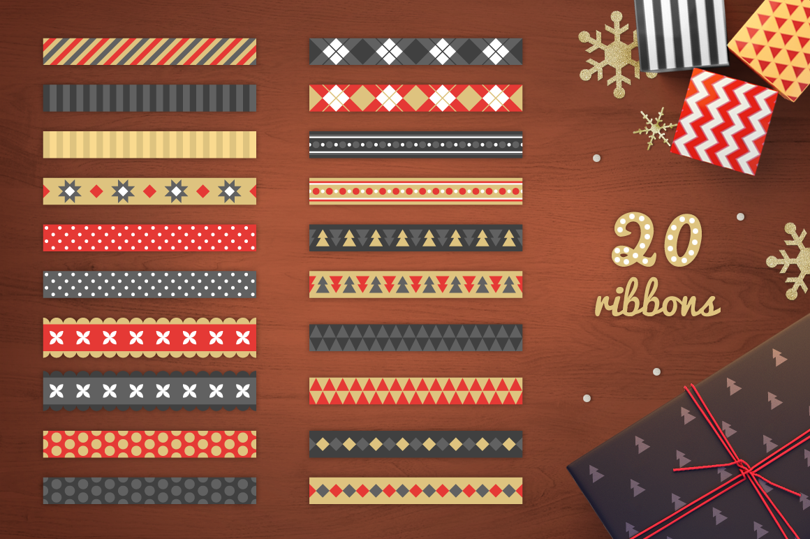 Christmas Ribbons, Stickers, Tags example image 4