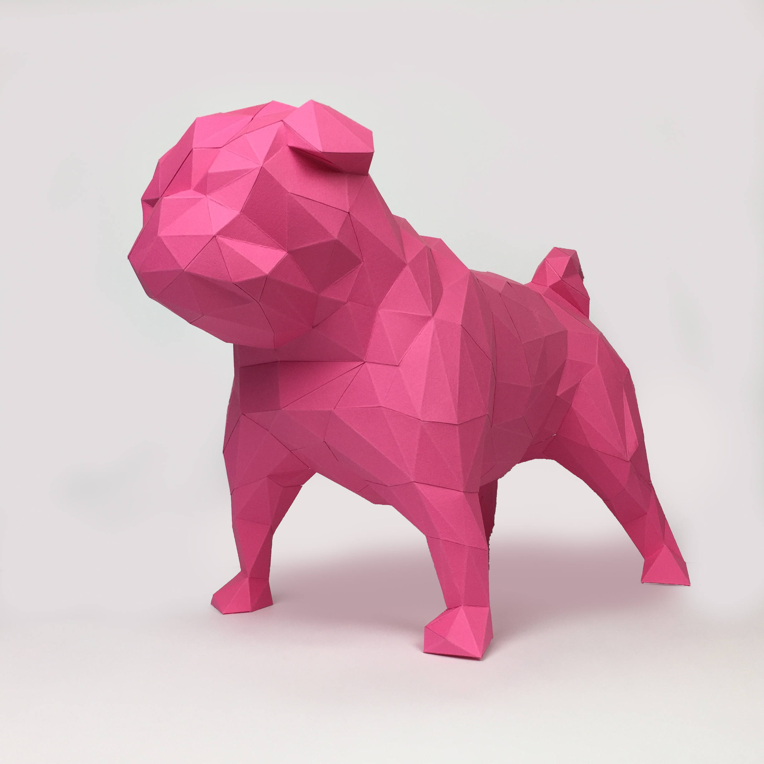 Pug Dog Papercraft, Paper Pug, Dog Statue, Puppy Pug, Paper Animals, Papertoy, Home Decor, Pug Dog, 3D papercraft model, lowpoly DIY, hobby example image 1