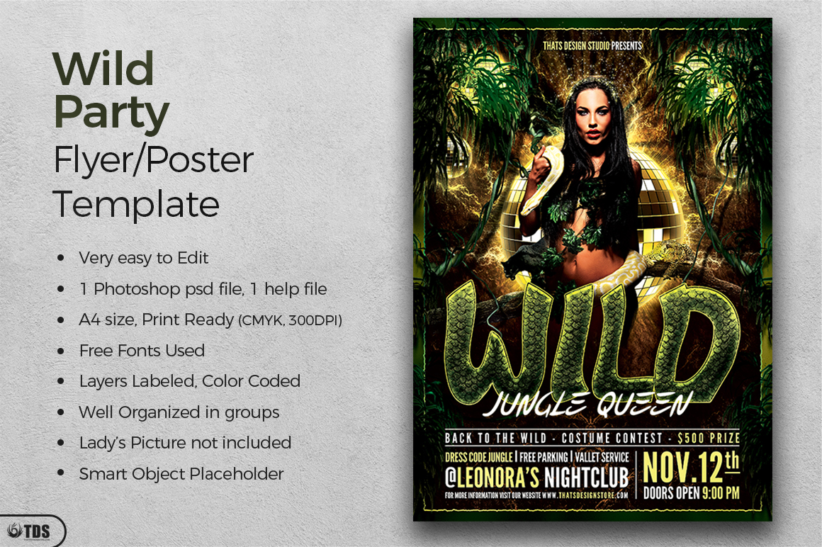 Wild Party Flyer Template example image 2