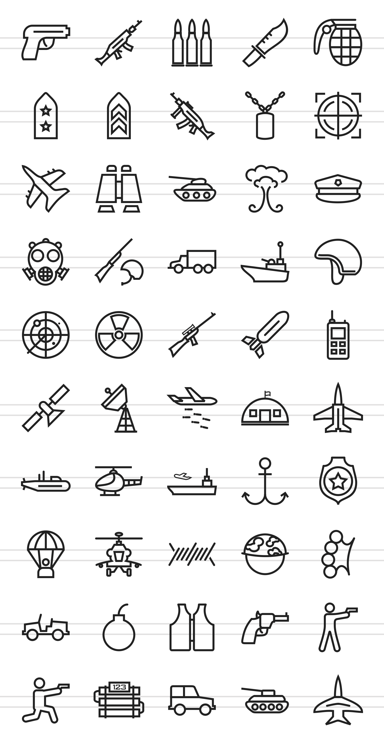 50 Military Line Icons example image 2