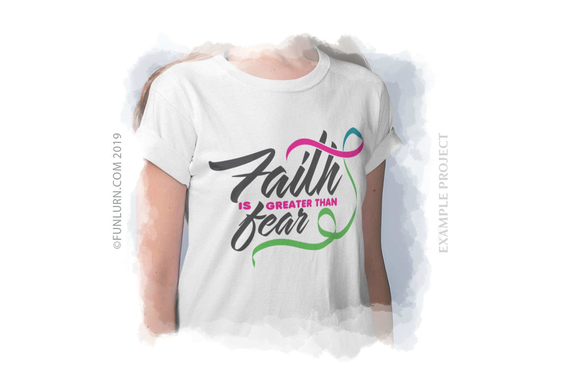 Faith is Greater Than Fear Pink Teal Green Ribbon SVG example image 3