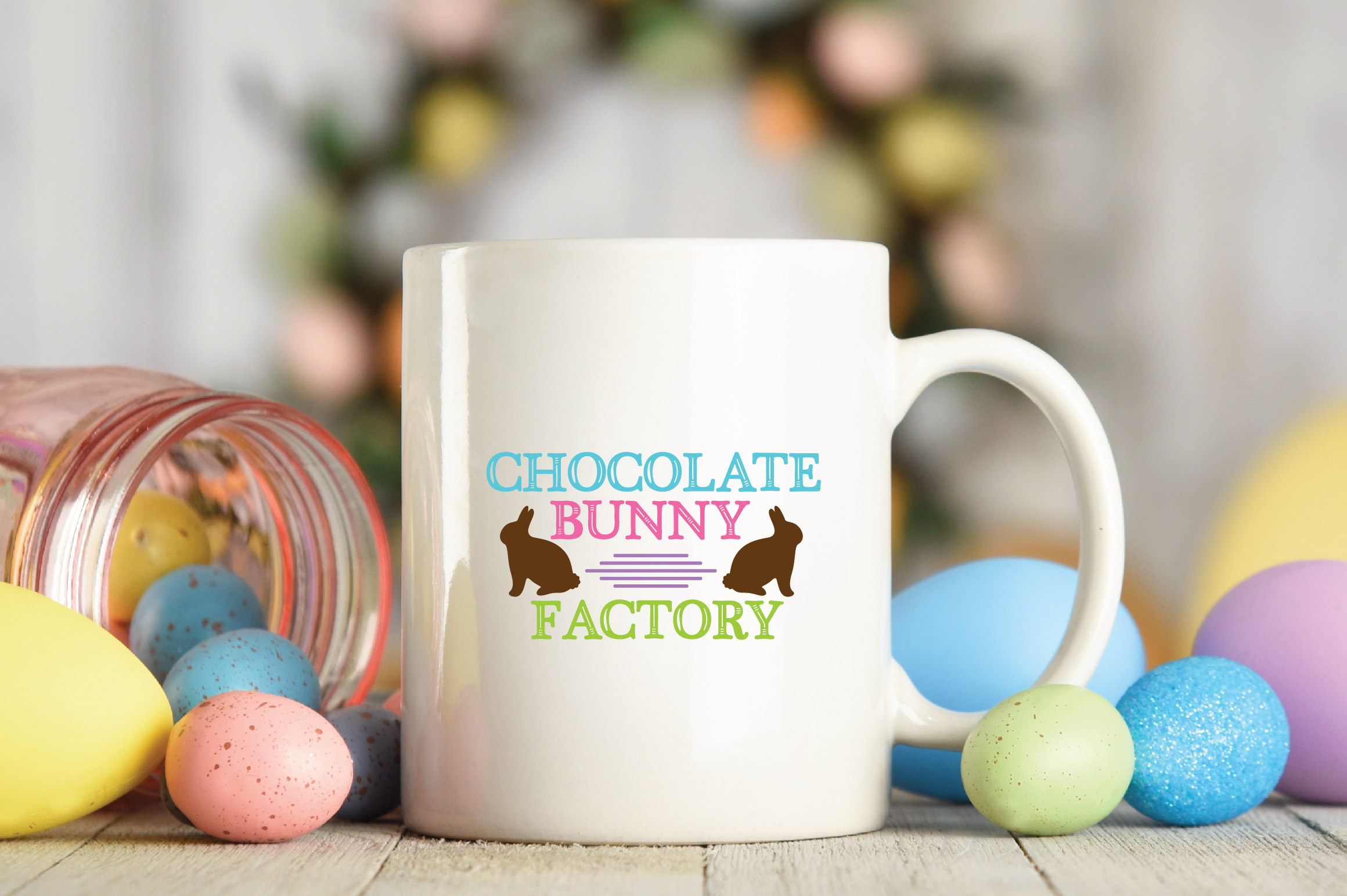 Easter SVG Cut File - Chocolate Bunny Factory SVG DXF EPS example image 3