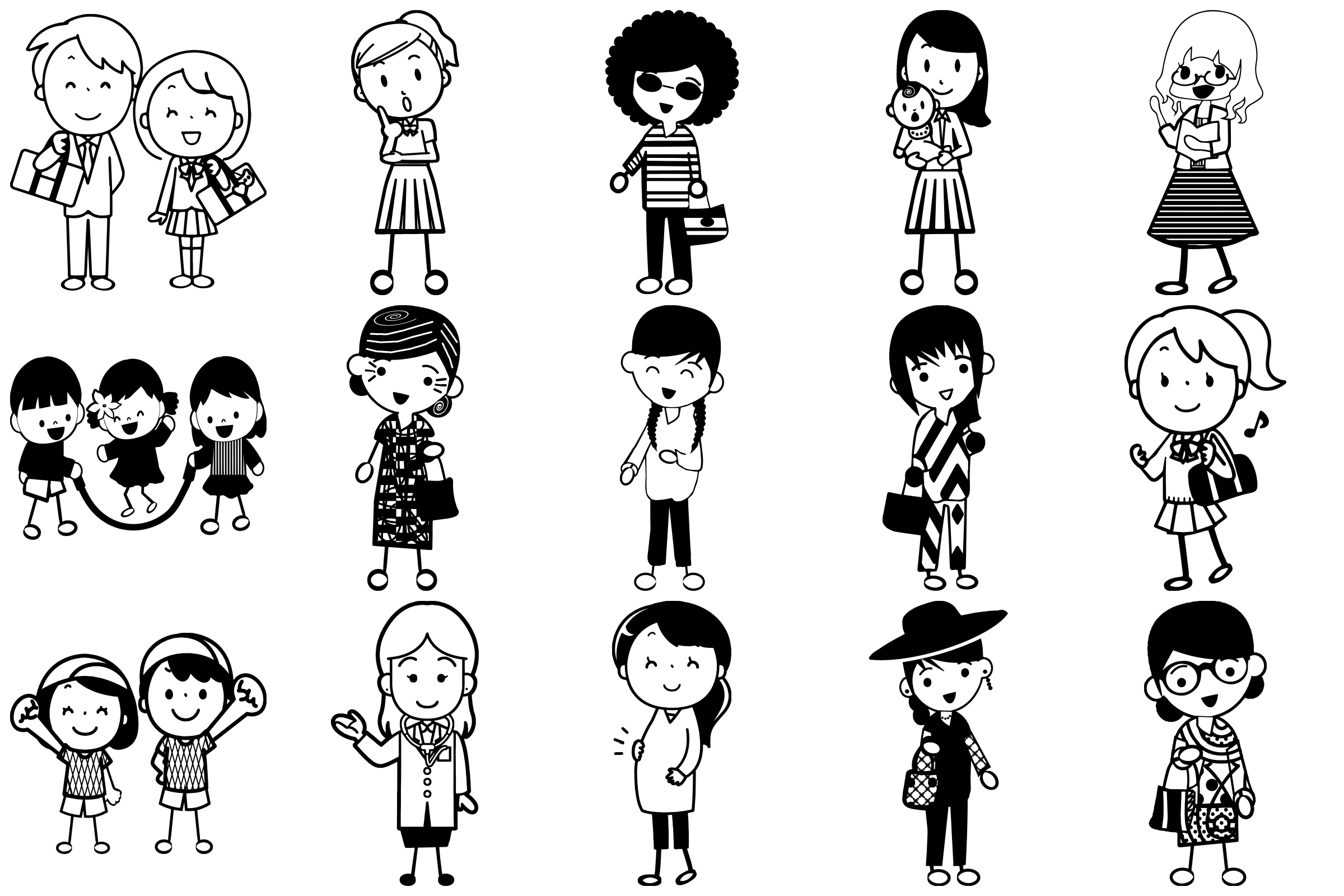 Stick People of Many Kinds AI EPS PNG example image 3