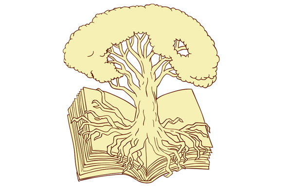 Oak Tree Rooted on Book Drawing example image 1