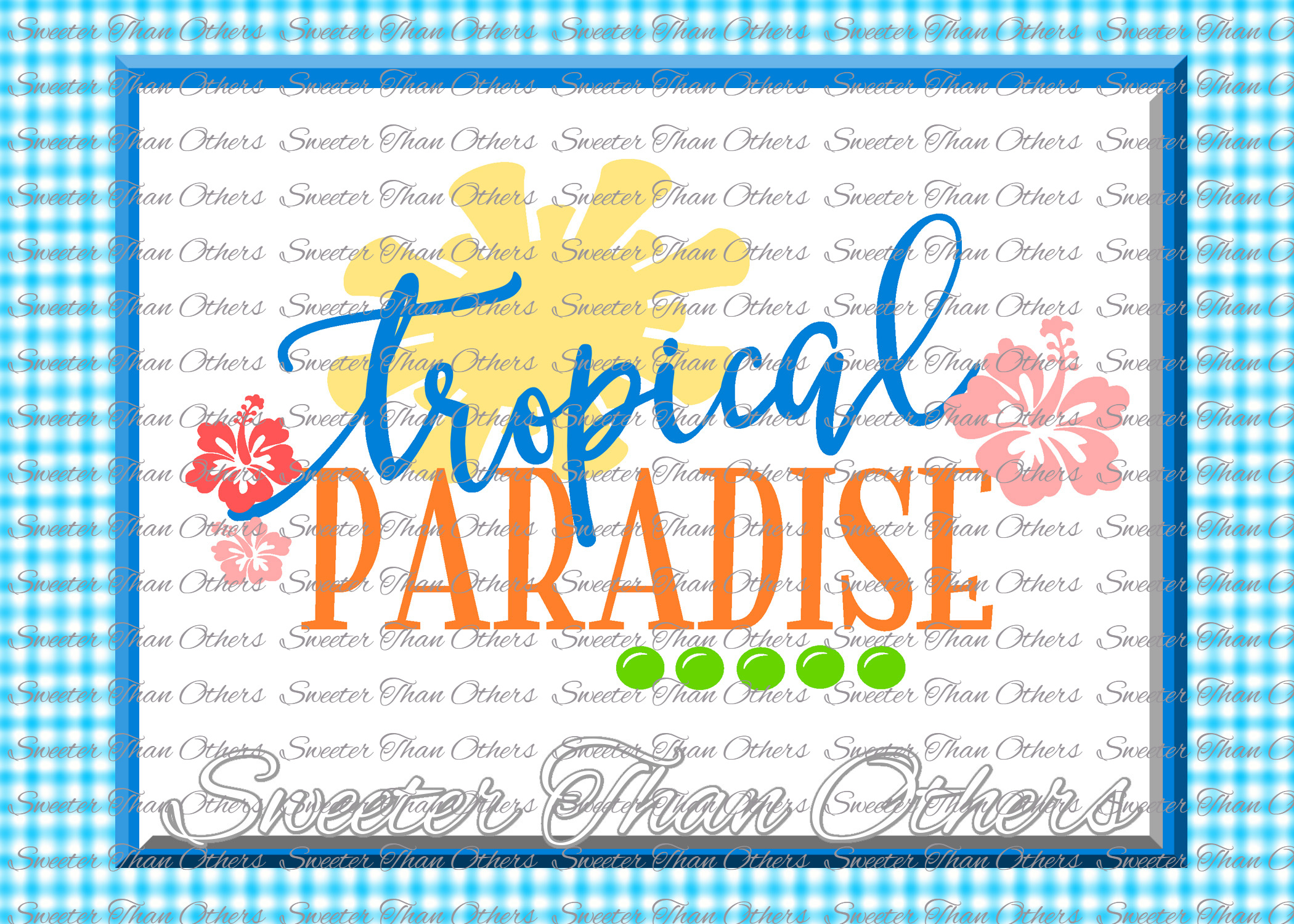 Tropical Paradise SVG, Tropics, Beach pattern example image 1