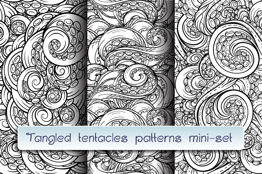Black and white tangled tentacles patterns mini-set example image 1