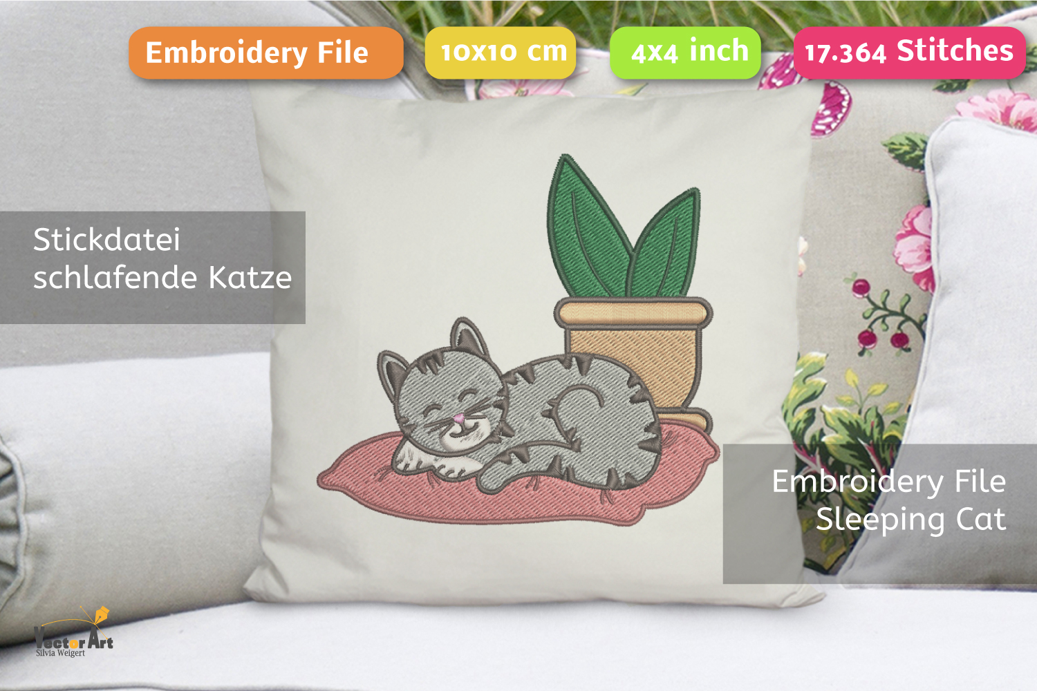 Sleeping Cat with Succulent - Embroidery File - 4x4 inch example image 3