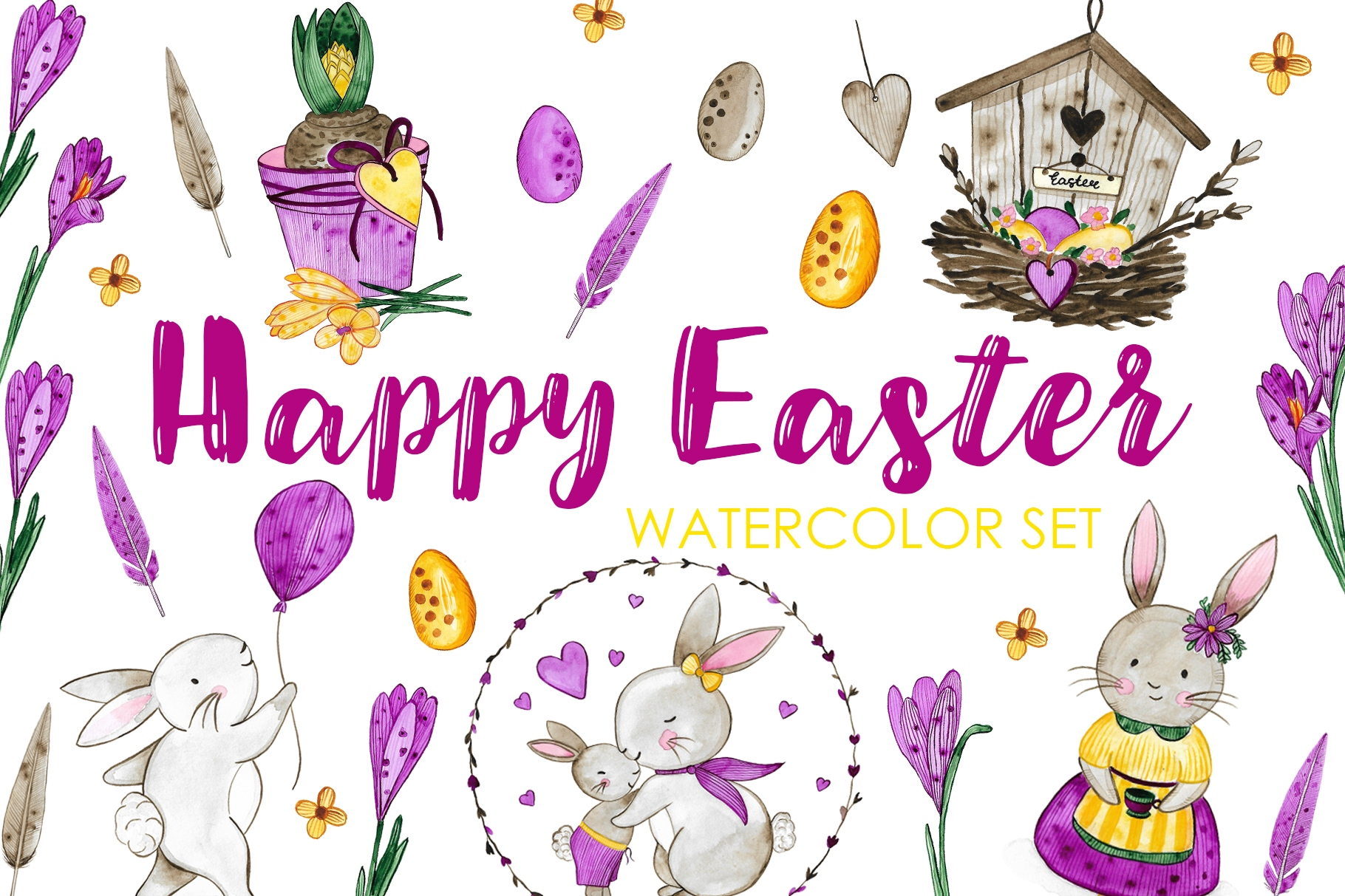 Happy Easter. Watercolor Set. example image 1