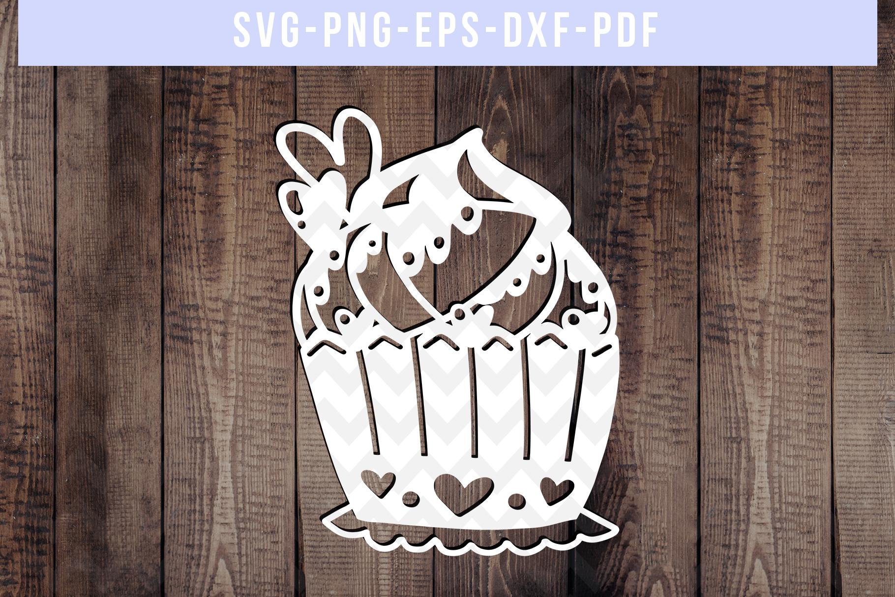 Bundle Of 9 Cupcake Papercut Templates, SVG Cutting File PDF example image 5