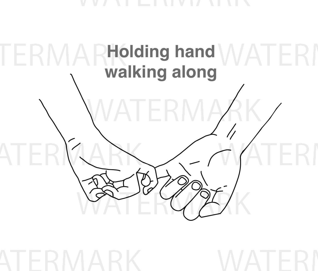 Two Hands with holding finger with love - SVG/JPG/PNG Hand Drawing example image 1