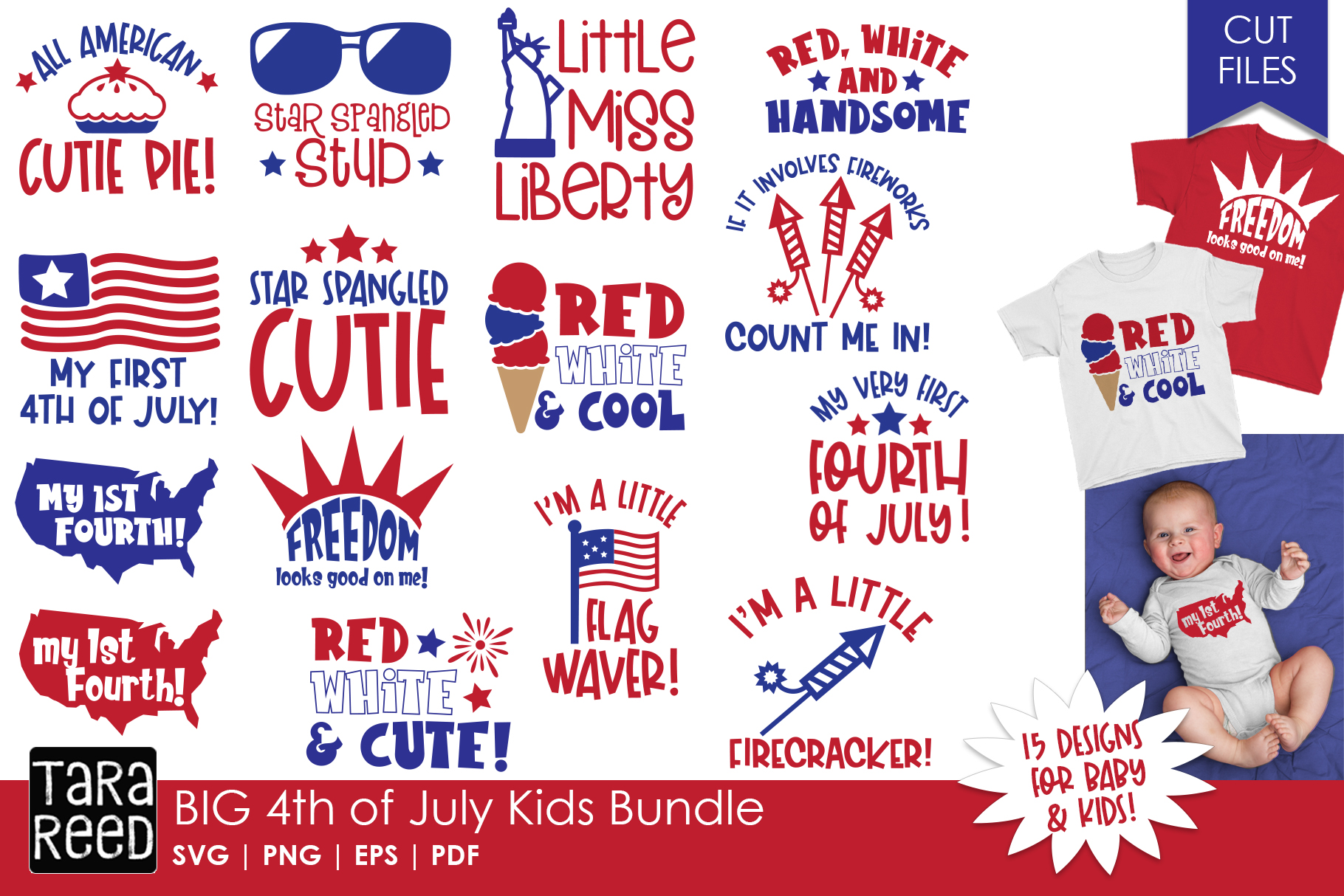 BIG 4th of July Kids Bundle - SVG and Cut Files for Crafters example image 2