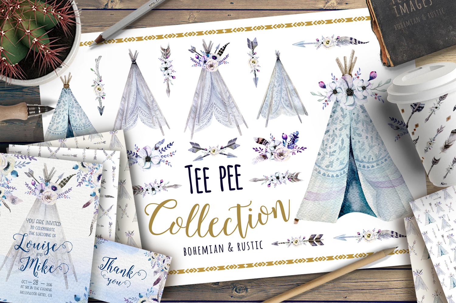 Watercolor bohemian teepee & pattern example image 1