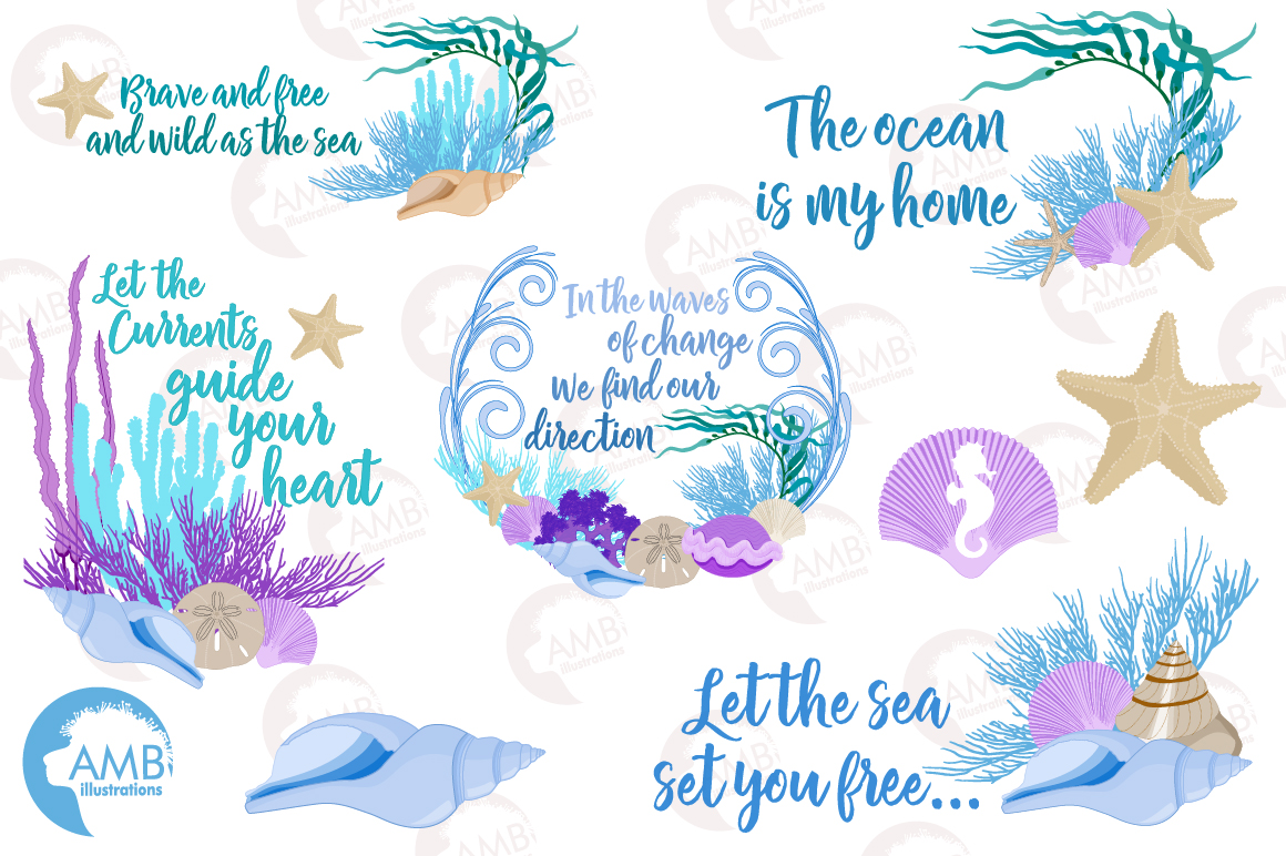 Down by the sea clipart, graphics, illustrations AMB-2342 example image 5