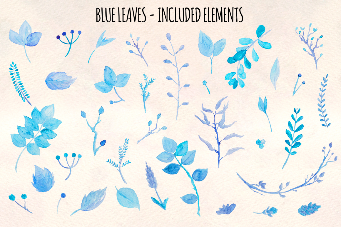 Delicate Blue Leaves 36 Nature Watercolor Paintings example image 2