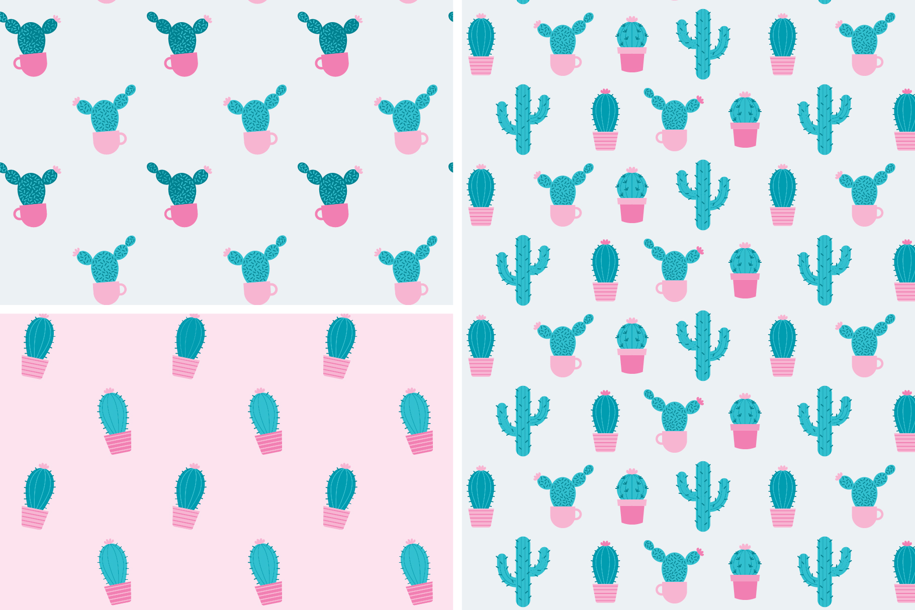 Cactus Seamless Patterns Collection example image 7