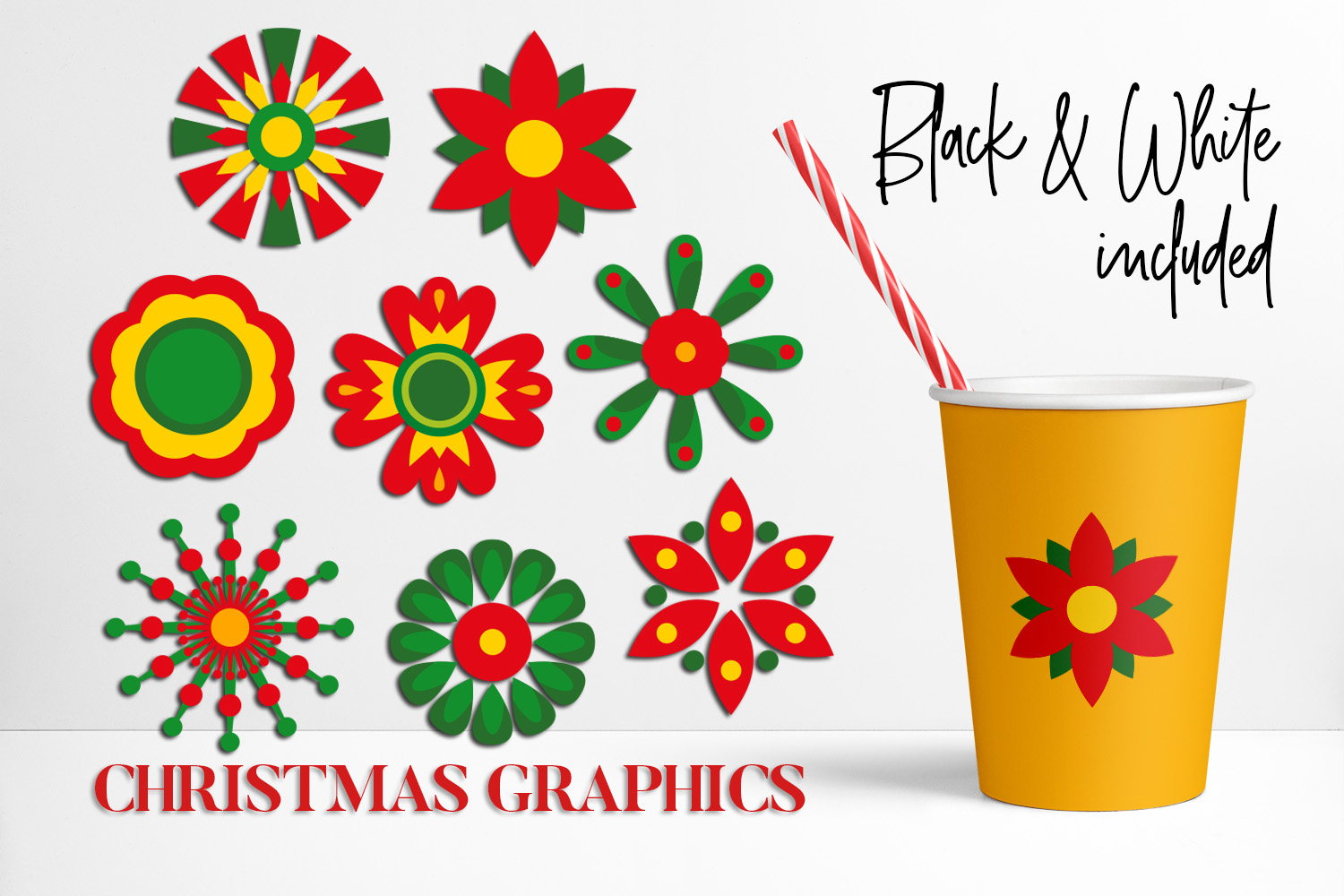 Christmas Bundle, Cactus and Flowers Illustrations example image 4