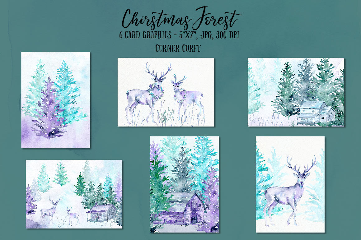 Watercolor Christmas Forest  example image 7
