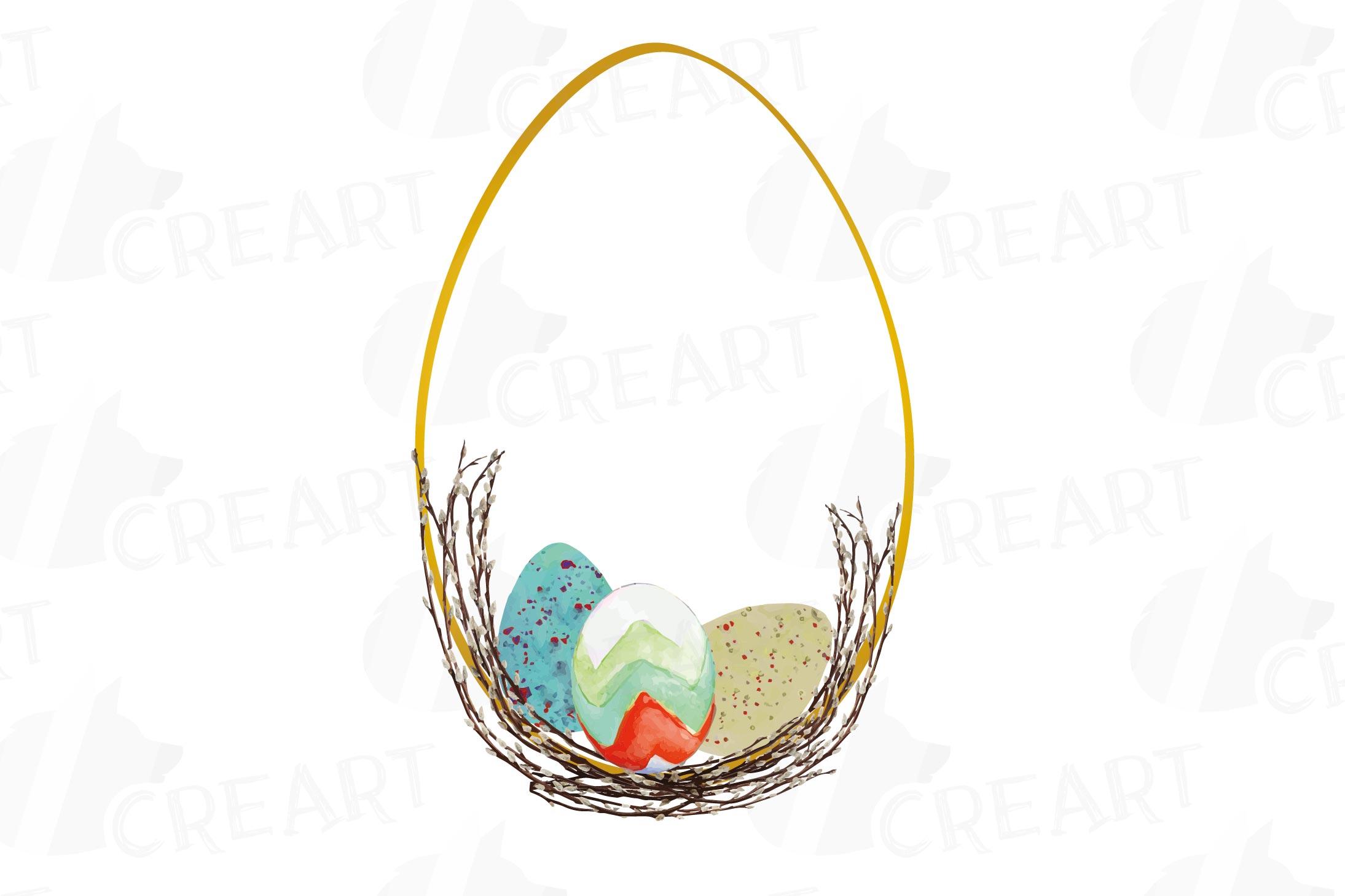 Easter golden watercolor floral frames, floral frames example image 10