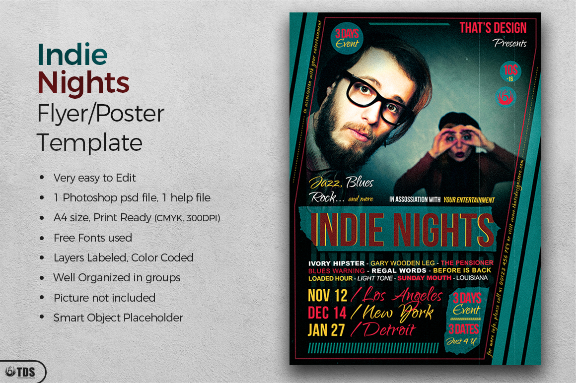 Indie Nights Flyer Template example image 2