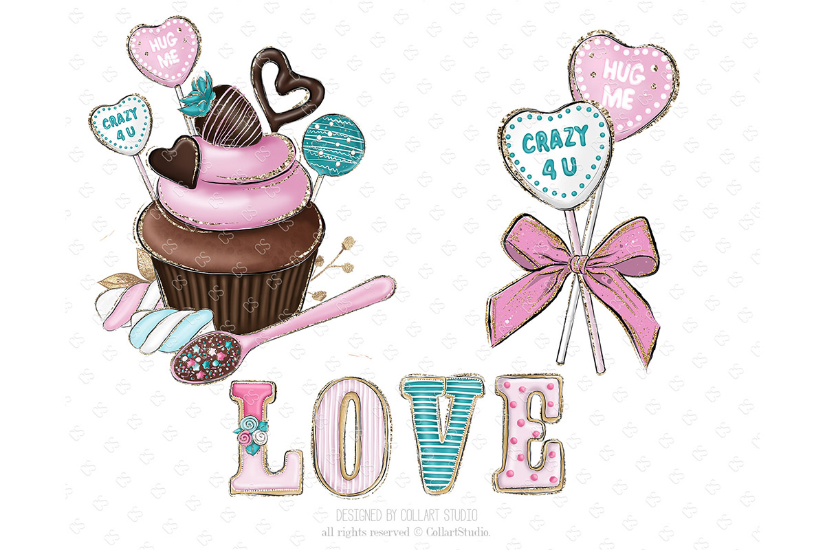 Valentine's Day Clip art, sweets clipart, love desserts example image 4