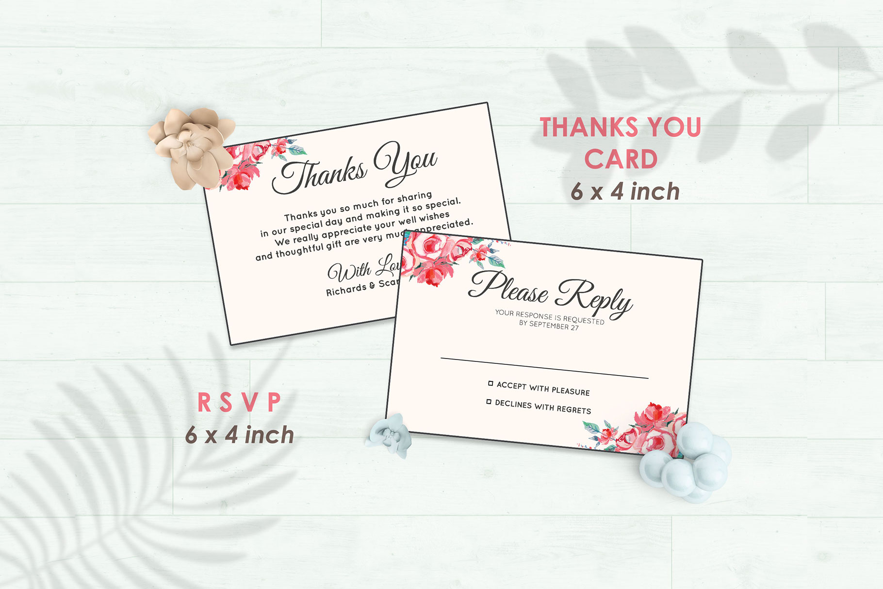 Wedding Invitation Set #11 Watercolor Floral Flower Style example image 4