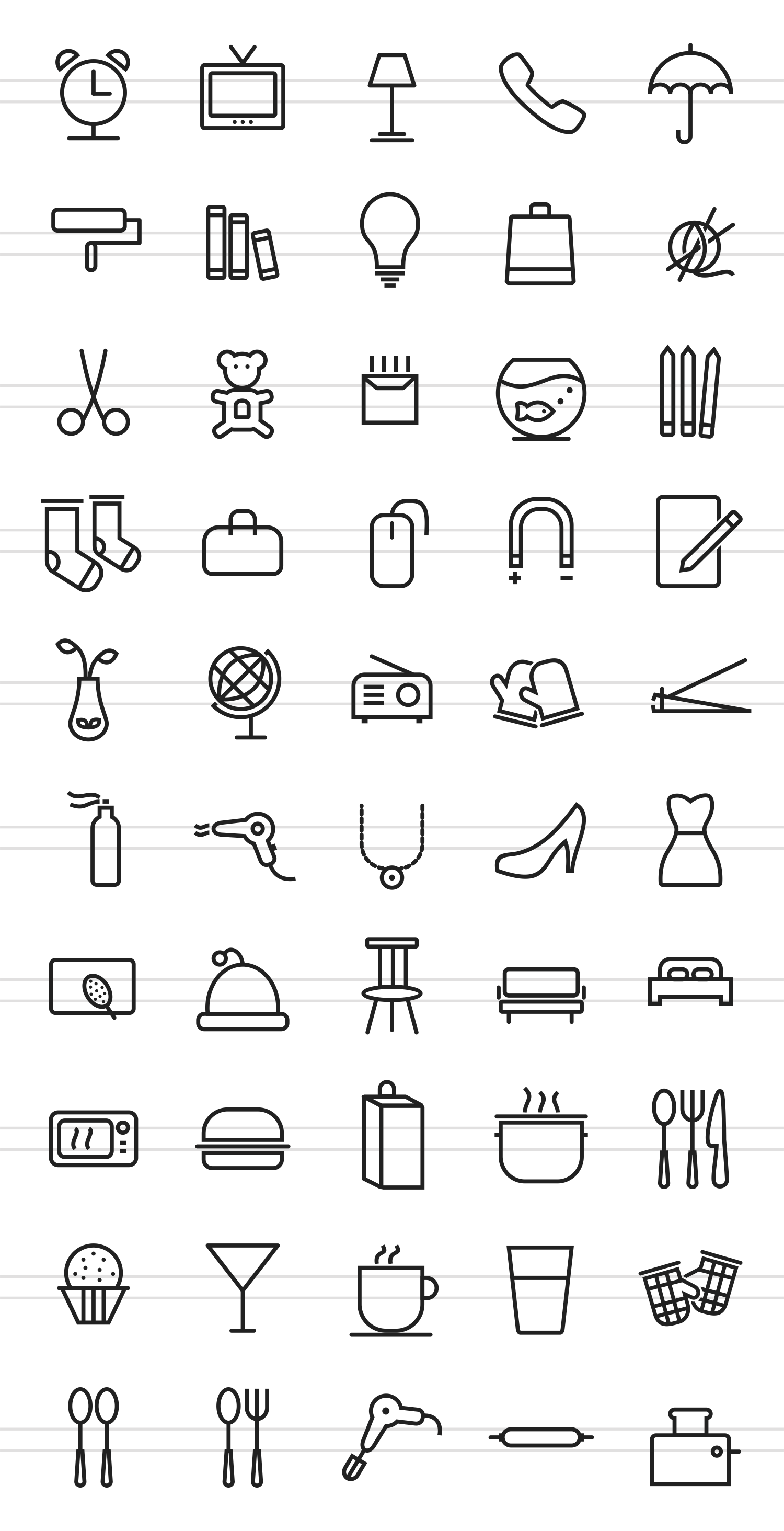 50 Household Objects Line Icons example image 2
