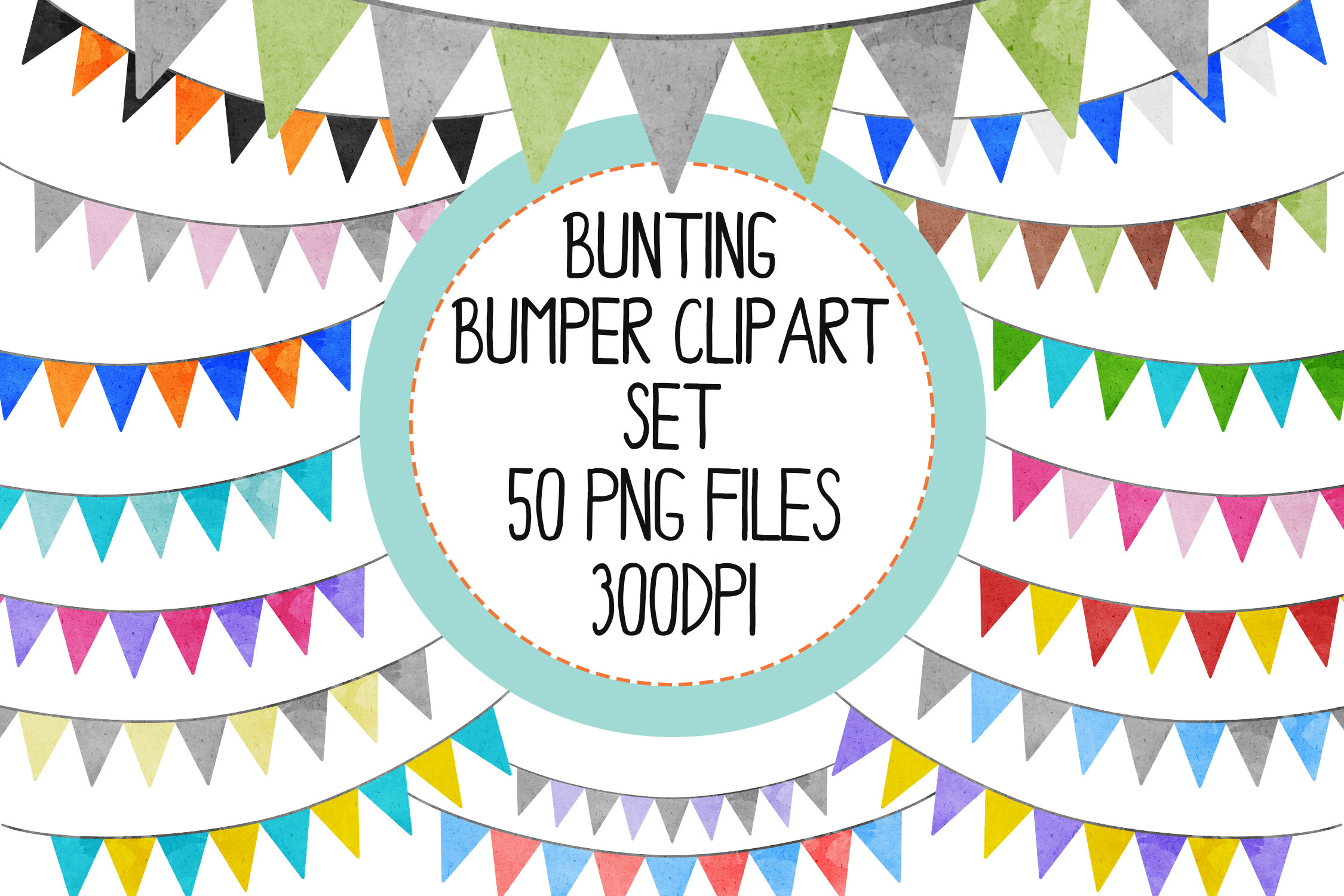 Watercolor Bunting Bumper Clipart Set example image 1