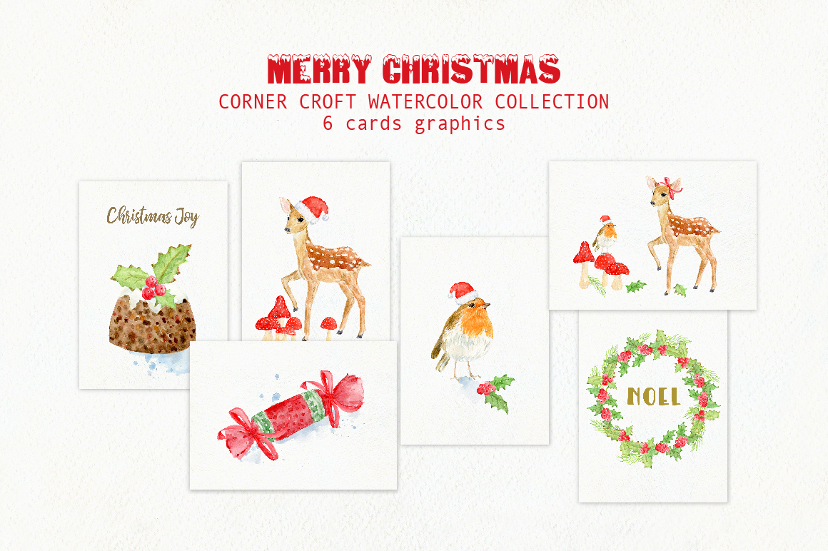 Watercolor Christmas Card Design Kit example image 3