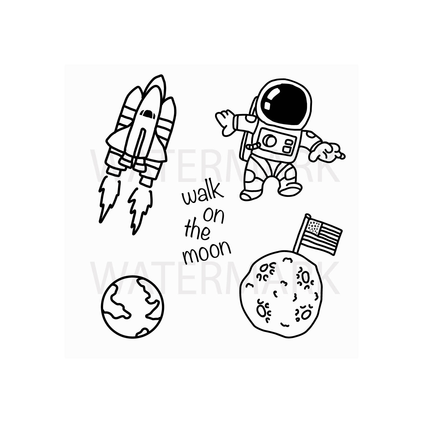 Astronaut Walking on the Moon - SVG/JPG/PNG Hand Drawing example image 1
