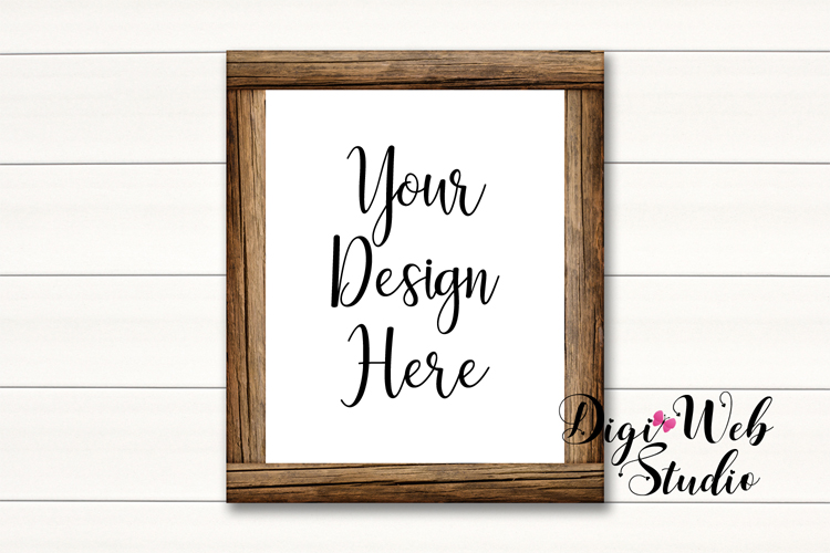 Wood Signs Mockup Bundle - 10 Wood Frames on White Shiplap example image 2