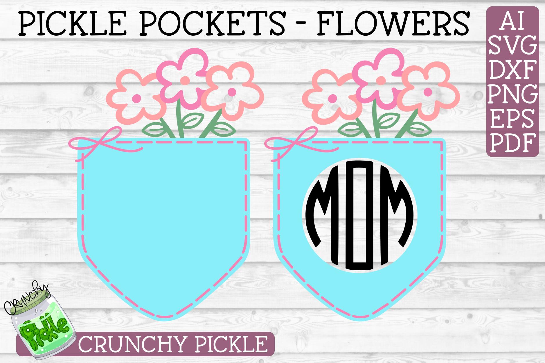 Pickle Pockets - Monogram Pocket Mom Flowers SVG Cut File example image 2