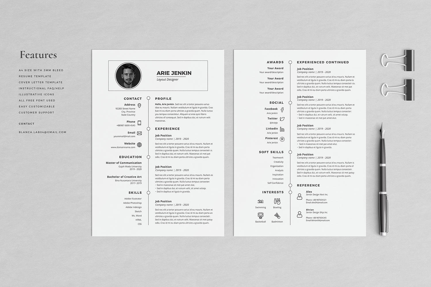 Arie Resume with Cover Letter Professional Template example image 2