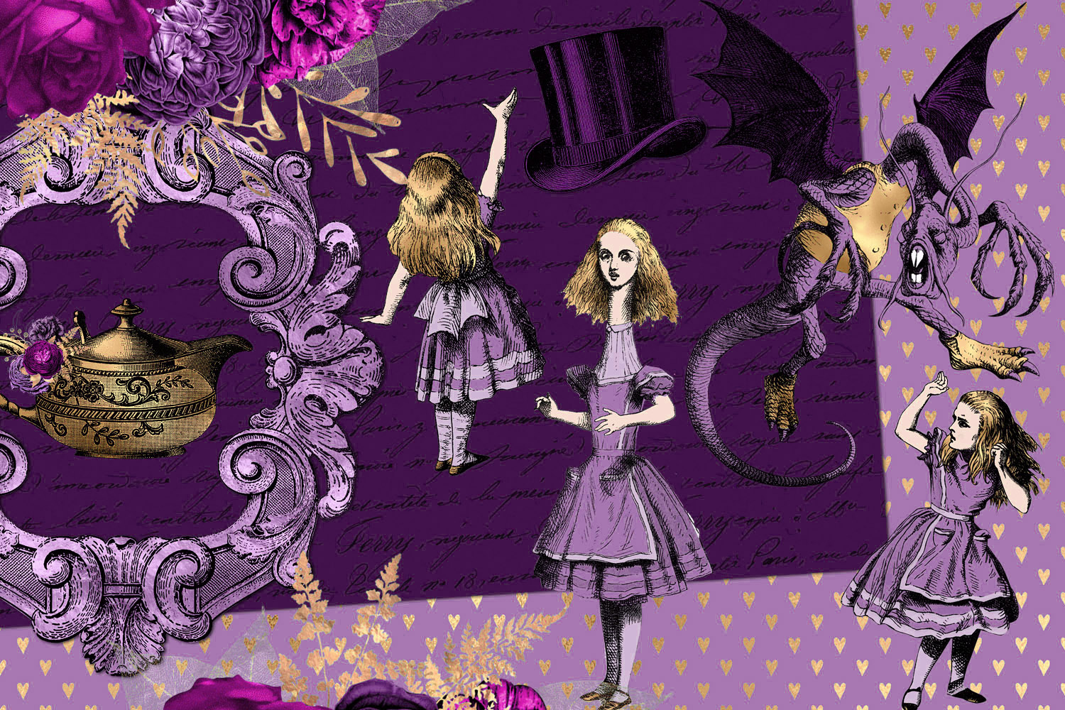 Purple and Gold Alice in Wonderland Graphics example image 3
