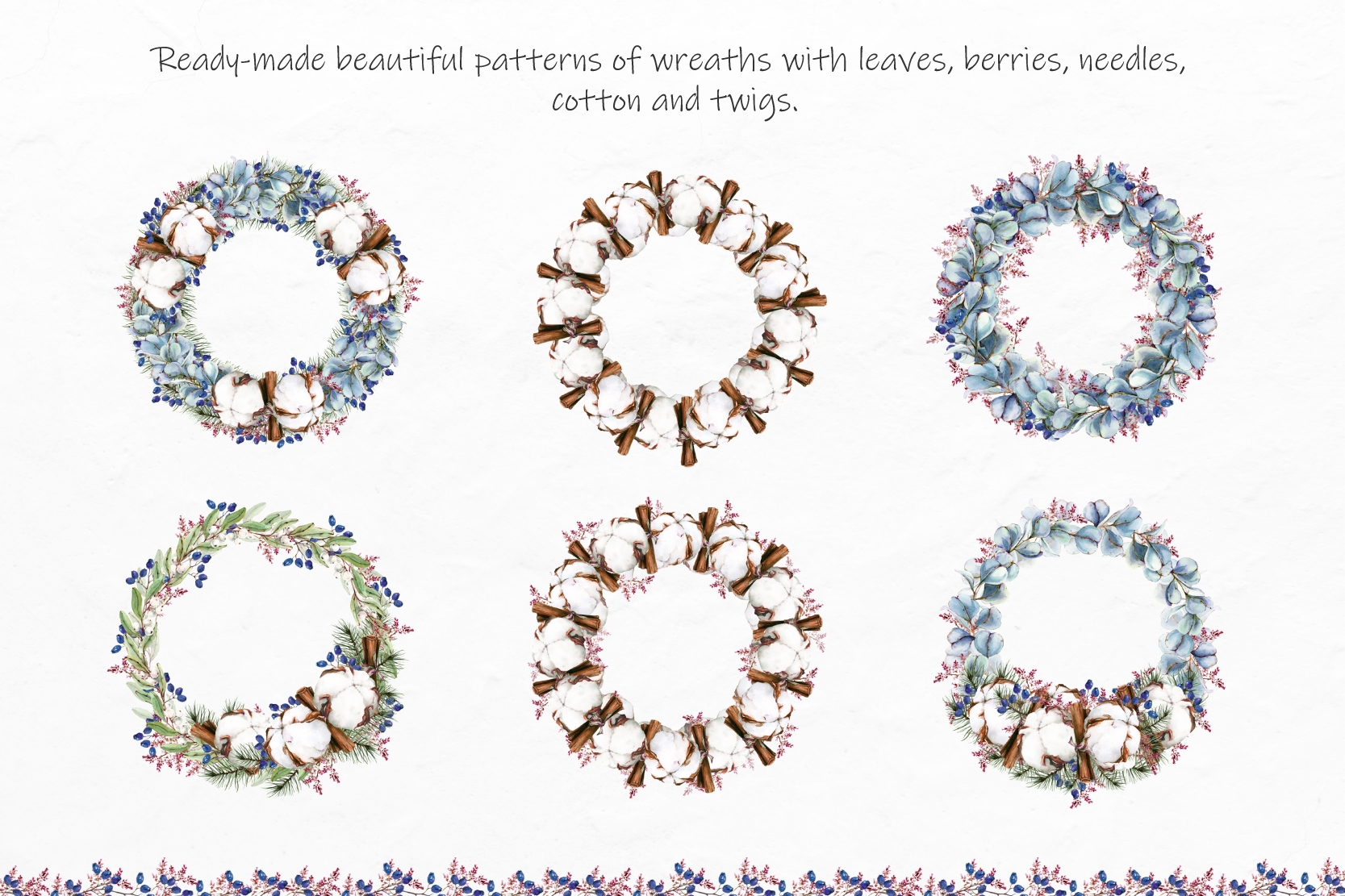 Watercolor Winter Wreaths | Clipart example image 3
