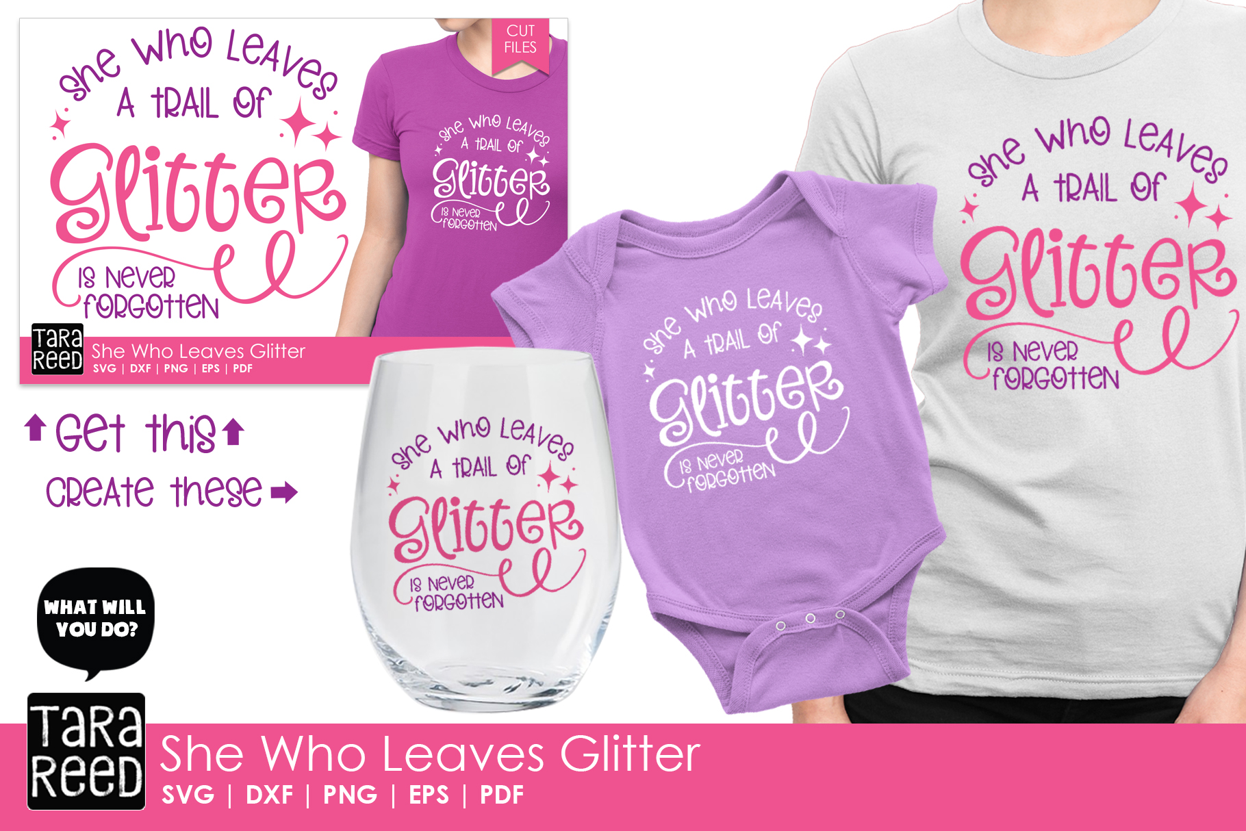 She Who Leaves Glitter - SVG and Cut Files for Crafters example image 2