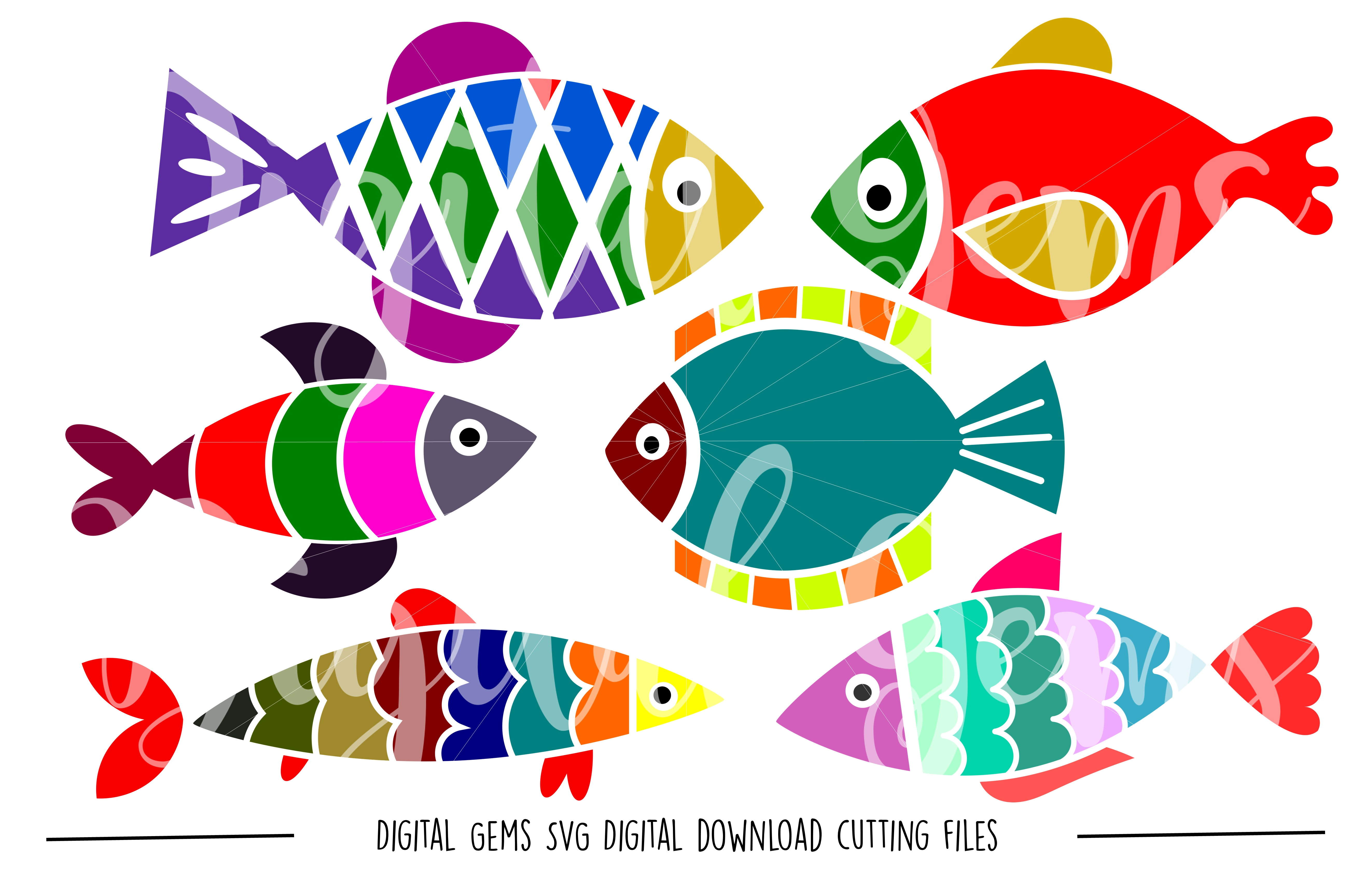Fish SVG / PNG / EPS / DXF files example image 1