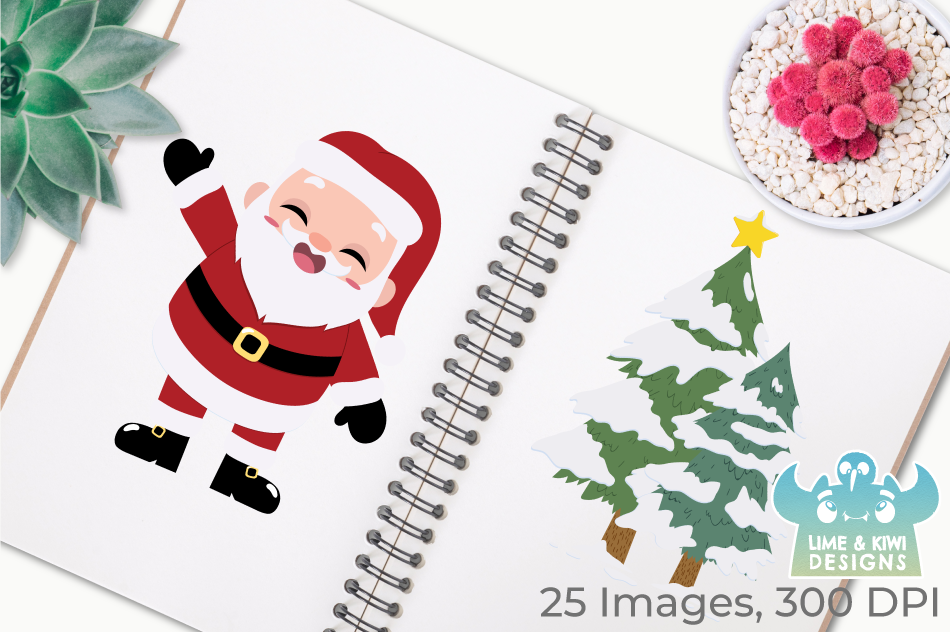 Santa Claus Clipart, Instant Download Vector Art, Commercial example image 3