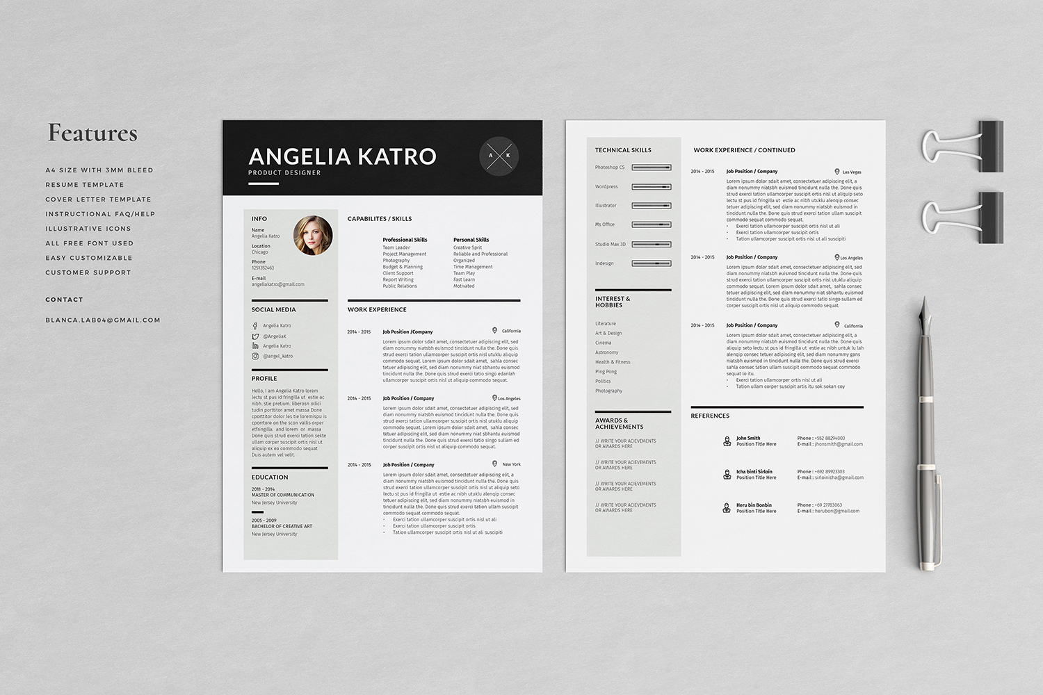 Angelia Resume with Cover Letter Professional Template example image 2
