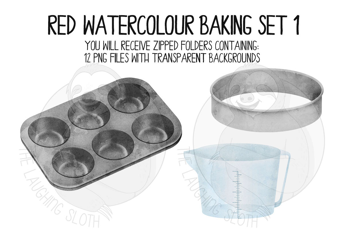Red Watercolor Baking Clip Art Set example image 4